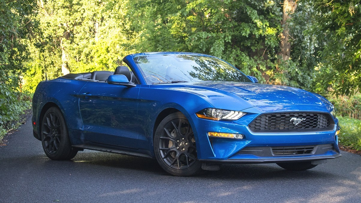 2019 Blue Ford Mustang Convertible