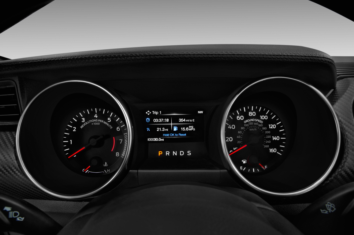 Black 2020 Ford Mustang instrument panel